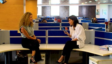 """الزميلة نايلة تويني والإعلامية ريما مكتبي في مكاتب """"النهار""""."""