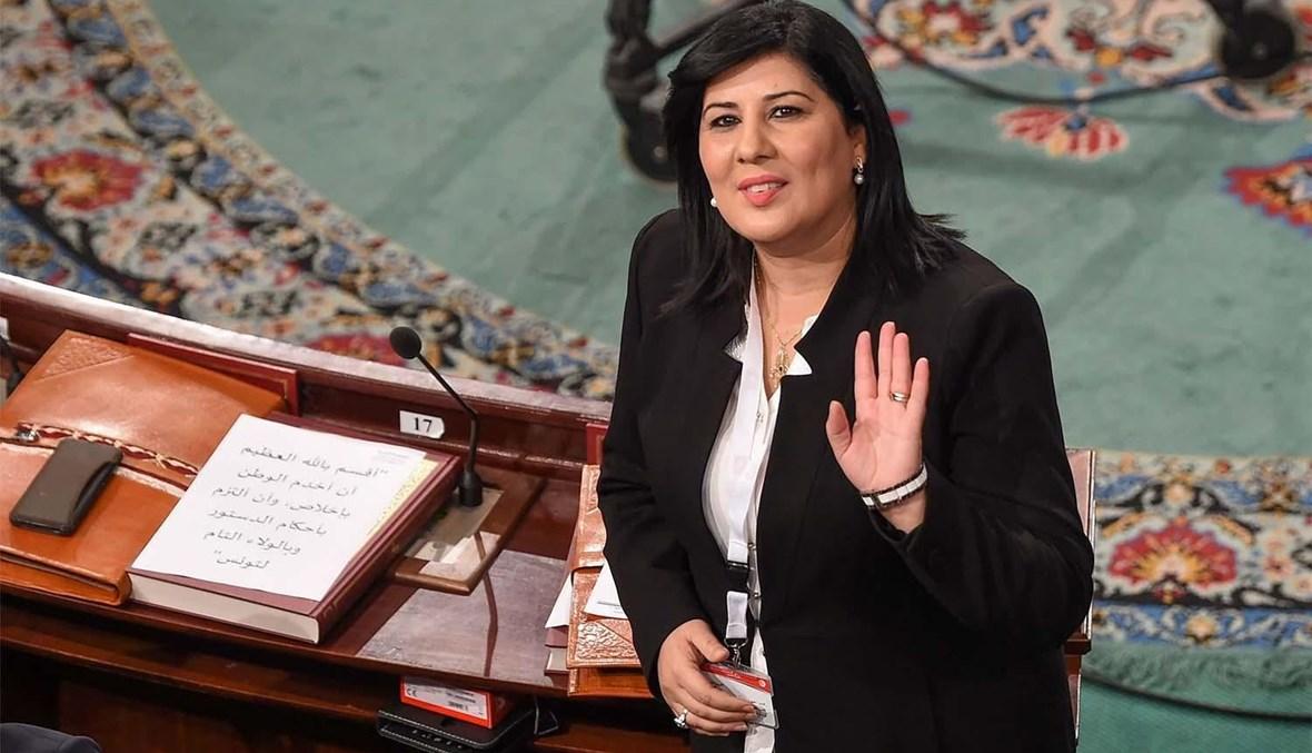 رئيسة الحزب الدستوري الحرّ النائبة عبير موسي (أ ف ب).