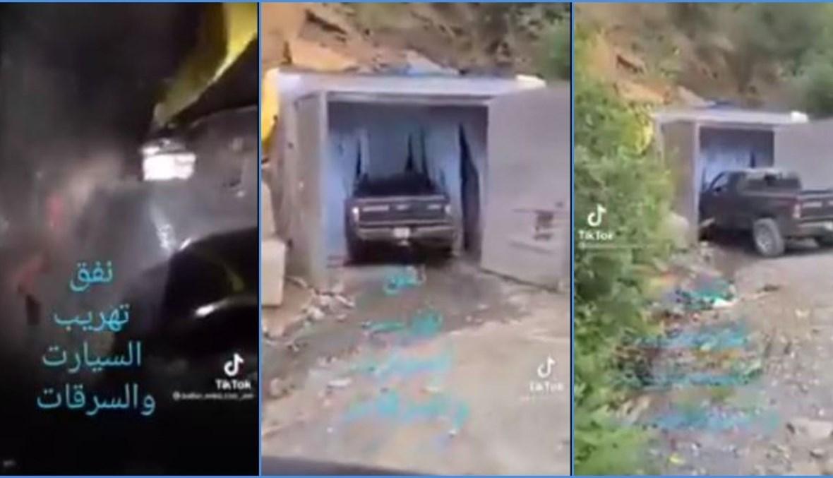 ثلاث لقطات شاشة من الفيديو المتناقل بالمزاعم الخاطئة (تويتر).