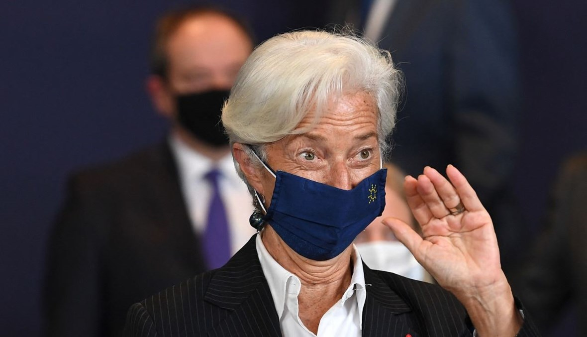 لاغارد خلال اجتماع أورو غروب في مقر الاتحاد الأوروبي في بروكسيل (12 تموز 2021، أ ف ب).