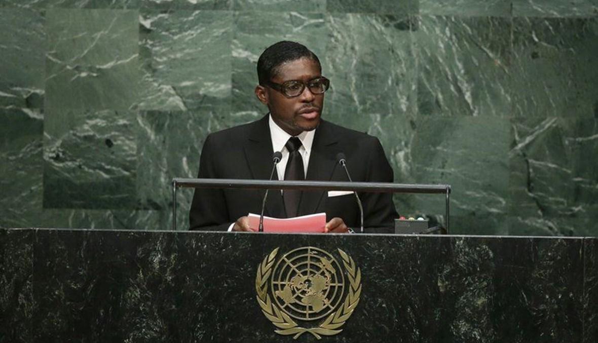 تيودورو أوبيانغ مانغو متكلما خلال الدورة الـ70 للجمعية العامة للأمم المتحدة في مقر الأمم المتحدة (30 ايلول 2015، أ ب).