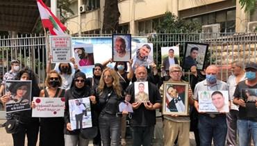 وقفة لأهالي ضحايا المرفأ أمام قصر العدل (نبيل إسماعيل).