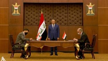 الكاظمي يرعى مراسم توقيع اتفاق استيراد لبنان المحروقات من العراق.