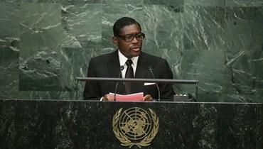 نائب رئيس غينيا الاستوائية تيودورو نغويما أوبيانغ مانغو متكلما خلال الدورة الـ70 للجمعية العامة للأمم المتحدة في مقر الأمم المتحدة (30 ايلول 2015، أ ب).