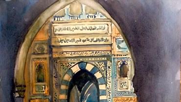 """لوحة """"باب الملك عبد الله"""" بريشة الفنان شوقي دلال."""
