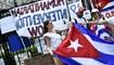 المتظاهرون اللاتينيون في واشنطن ضد النظام في كوبا (أ ف ب).