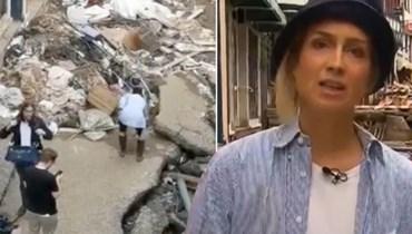 فضح مراسلة ألمانية وهي تلطّخ نفسها لتتظاهر بأنها ساعدت في تنظيف الفيضانات.
