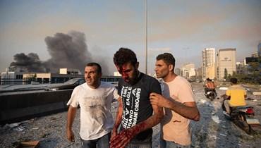 صورة لجريح في انفجار المرفأ