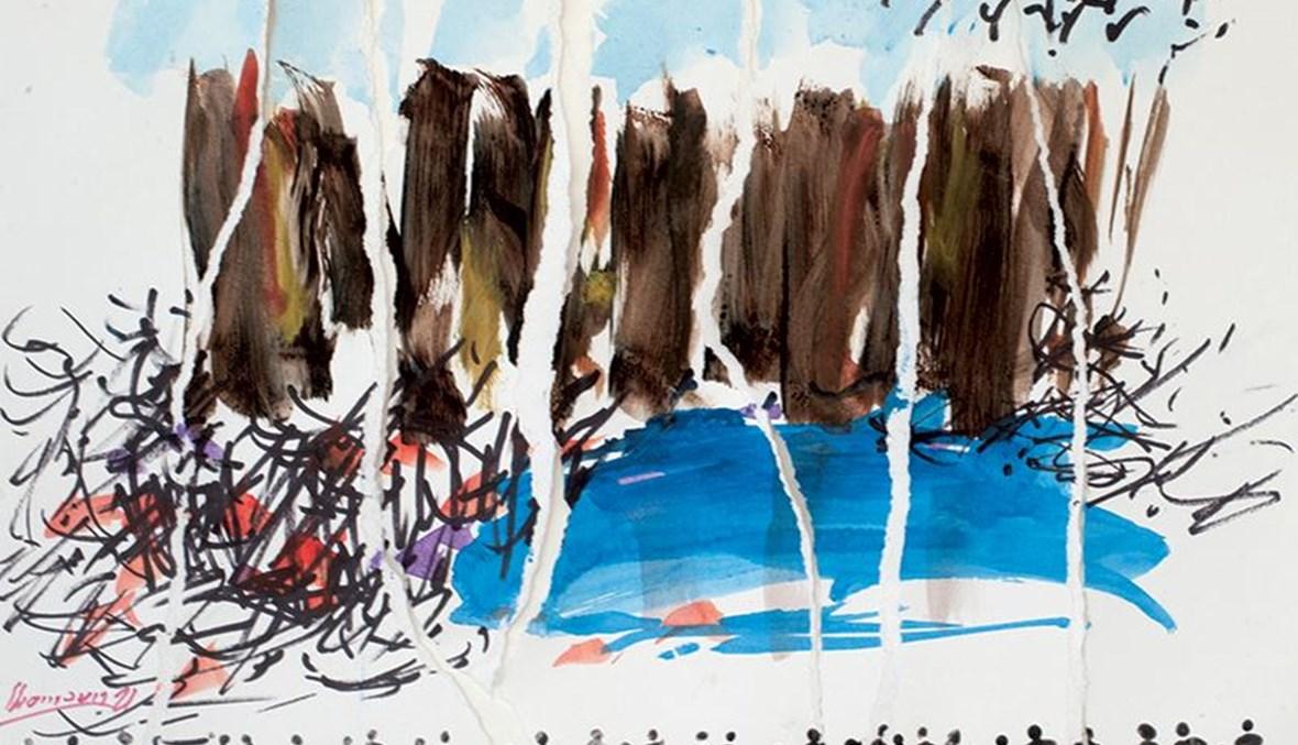 """""""لستُ وحدي في الرابع من آب""""، لوحة للرسام الكبير شوقي شمعون."""
