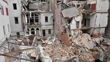 الركام بعد انفجار مرفأ بيروت (تصوير نبيل اسماعيل)