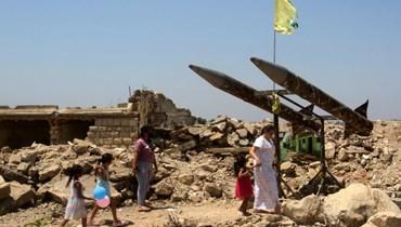 """مجسم لصواريخ """"حزب الله"""" في جنوب لبنان (أ ف ب)."""
