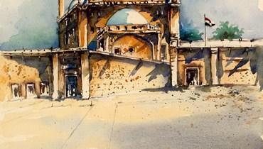 """لوحة """"قلعة صلاح الدين الأيوبي في القاهرة"""" بريشة الرسام شوقي دلال."""