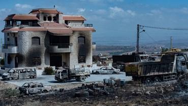 إحراق منزل صاحب الأرض الذي وقع فيه انفجار خزان البنزين في التليل (نبيل اسماعيل).