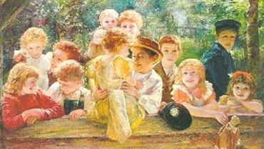 """لوحة """"أطفال سعداء"""" للرسام الألماني بول بارتل."""