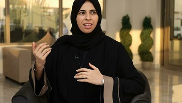 """نائبة وزير الخارجية القطرية لولوة الخاطر خلال مقابلة مع وكالة """"فرانس برس"""" (أ ف ب)."""