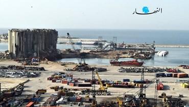مرفأ بيروت بعد انفجار الرابع من آب (تصوير مارك فياض).