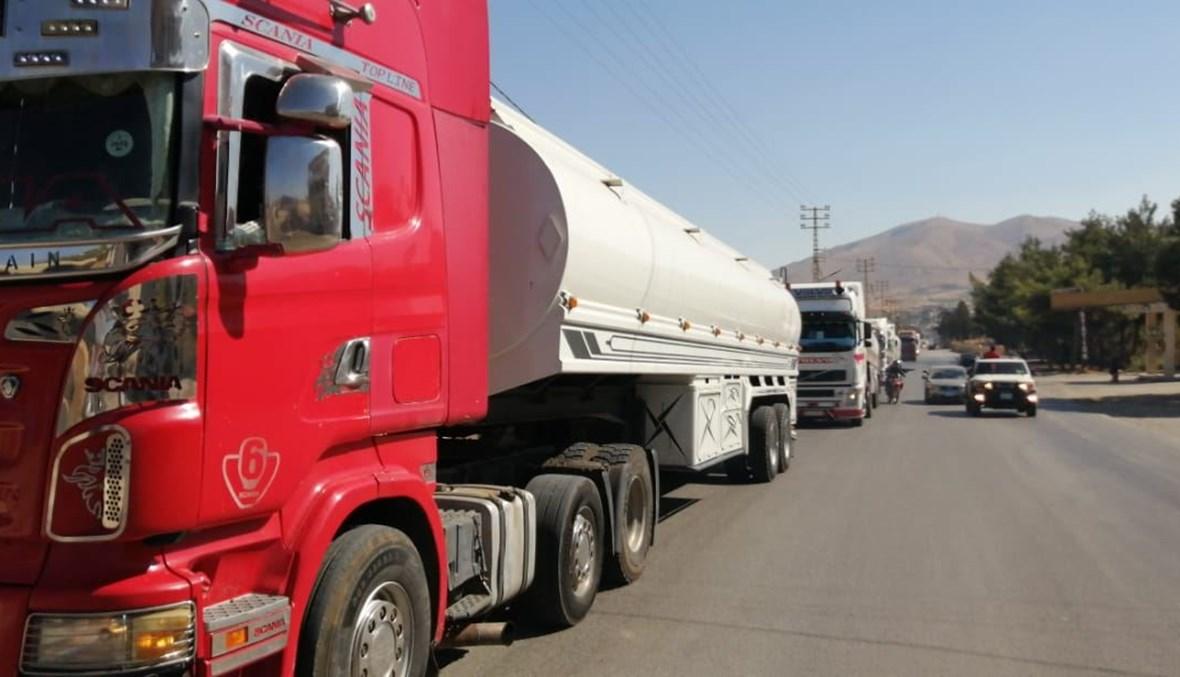 صهاريج المازوت الإيراني أثناء عبورها من سوريا إلى لبنان.