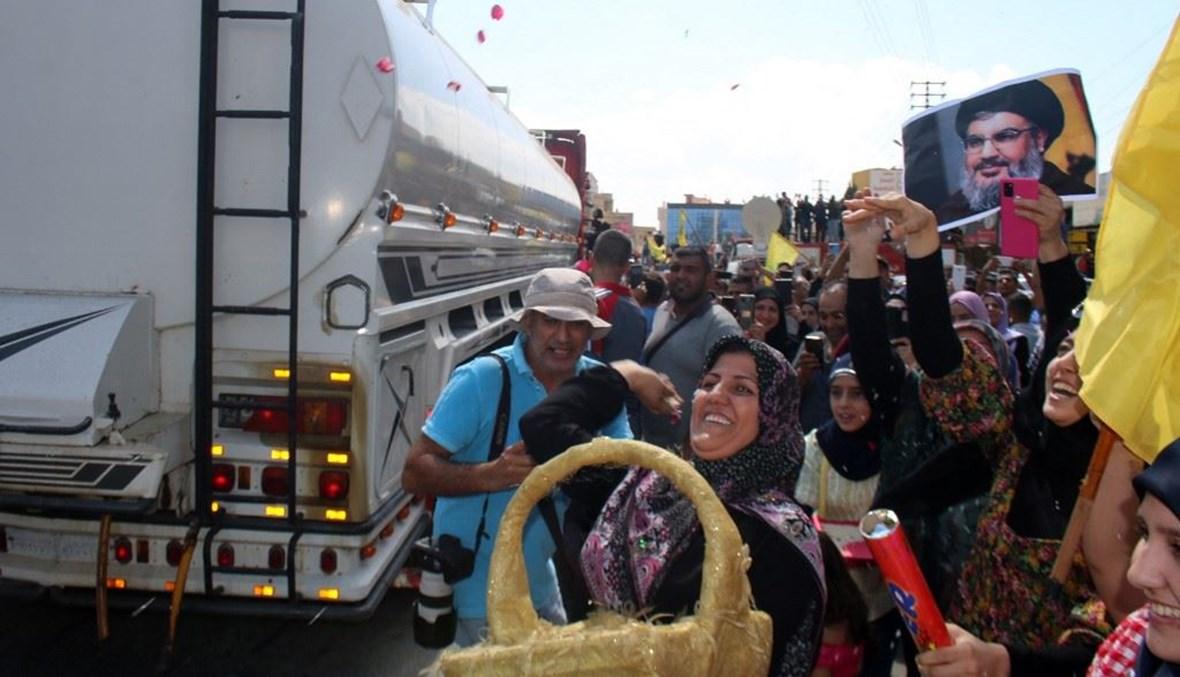 استقبال المازوت الإيراني (أ ف ب).