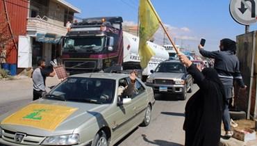 من استقبال صهاريج المحروقات الإيرانية في بعلبك (أ ف ب).