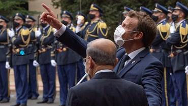 رئيس الجمهورية ميشال عون ونظيره الفرنسي إيمانويل ماكرون في قصر بعبدا (نبيل إسماعيل).