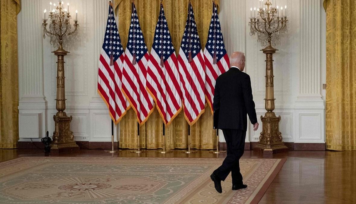 """الرئيس الأميركي جو بايدن مغادراً بعد إعلانه سيطرة """"طالبان"""" على أفغانستان (تعبيرية- أ ف ب)."""