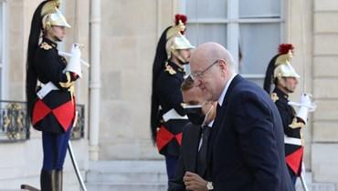 رئيس الحكومة اللبنانية نجيب ميقاتي ورئيس فرنسا إيمانويل ماكرون.
