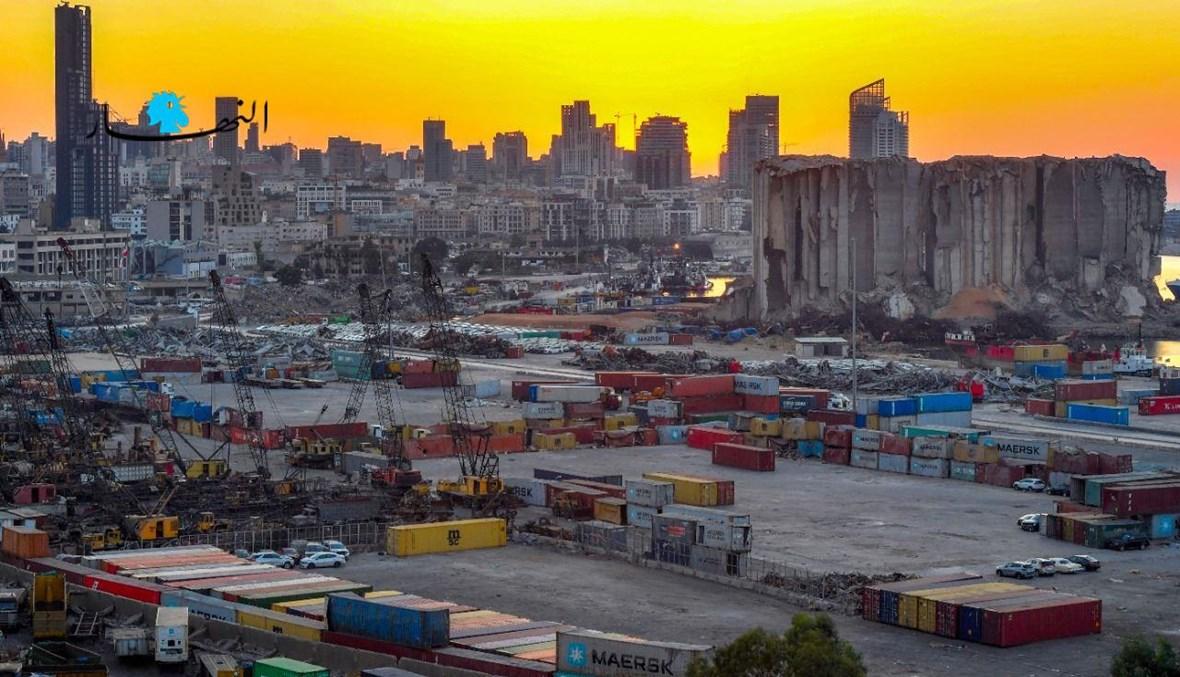 مرفأ بيروت كما بدا امس وسط تصاعد عاصفة كف يد المحقق العدلي عن التحقيق في الانفجار (نبيل إسماعيل).