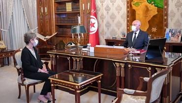 الرئيس التونسيّ ونجلاء بودن (أ ف ب).