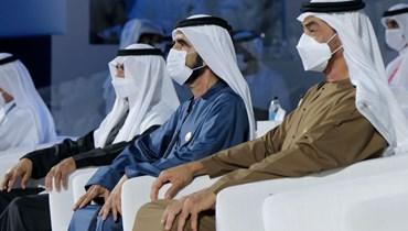 """الشيخ محمد بن راشد آل مكتوم خلال افتتاح """"إكسبو 2020 دبي"""" (مؤسسة دبي للإعلام)."""