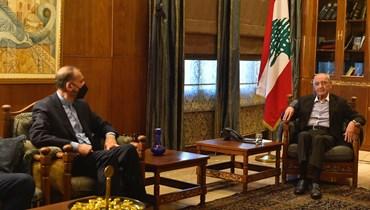 من استقبال الرئيس نبيه بري لوزير الخارجية الإيراني.