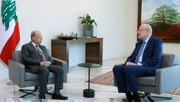 رئيس الجمهورية ميشال عون ورئيس الحكومة نجيب ميقاتي (النهار).