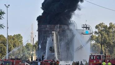 حريق في منشأة الزهراني (حسام شبارو).