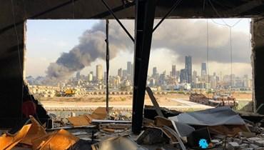 مرفأ بيروت بعد الانفجار. (تصوير نبيل اسماعيل).