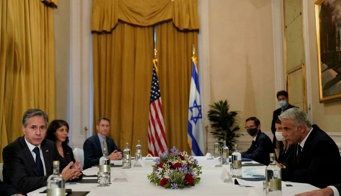 وزير الخارجية الأميركي أنتوني بلينكن يلتقي نظيره الإسرائيلي يائير لبيد (أ ف ب).