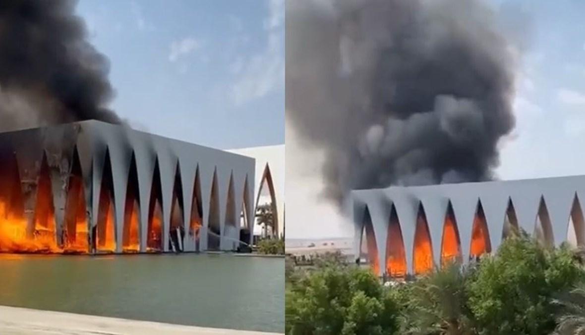 حريق في موقع مهرجان الجونة السينمائي (مواقع التواصل الاجتماعي).