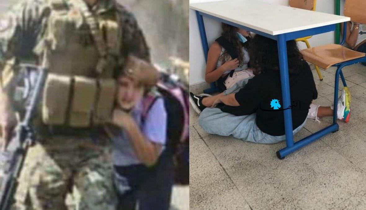 احتماء بجنديّ وطاولة مدرسية.