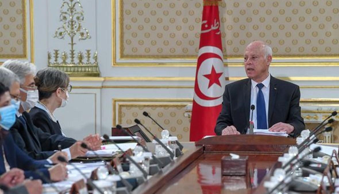 سعيّد مترئسا اجتماع الحكومة في قصر قرطاج (14 ت1 2021، رئاسة الجمهورية التونسية).