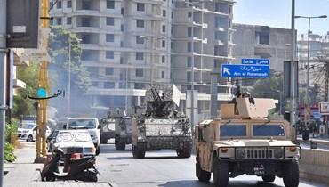 الجيش ينتشر في محيط الطيونة- عين الرمانة (نبيل اسماعيل).