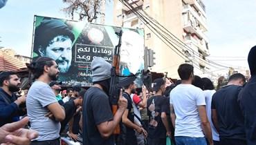 من تشيع الضحية حسن نعمة في روضة الشهيدين- الغبيري (تعبيرية- حسام شبارو).