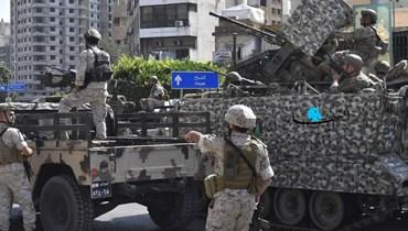 دورية للجيش عند مدخل الشياح خلال أحداث الطيونة (نبيل إسماعيل).