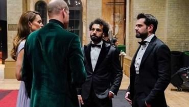 """لقاء """"ودّي"""" بين الأمير وليم ومحمد صلاح بحضور كيت ميدلتون... """"سعيد لوجودي هنا"""" (فيديو)"""