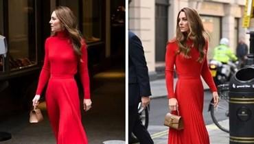 إطلالة لافتة...كيت ميدلتون متألّقة بفستان أحمر صارخ في لندن (صور)