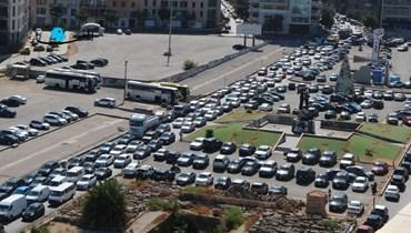 """اقفال الطريق في وسط بيروت (""""النهار"""")."""