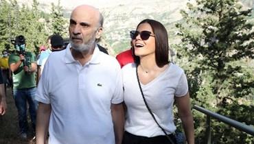 """رئيس حزب """"القوات اللبنانية"""" سمير جعجع وعقيلته النائبة ستريدا جعجع."""