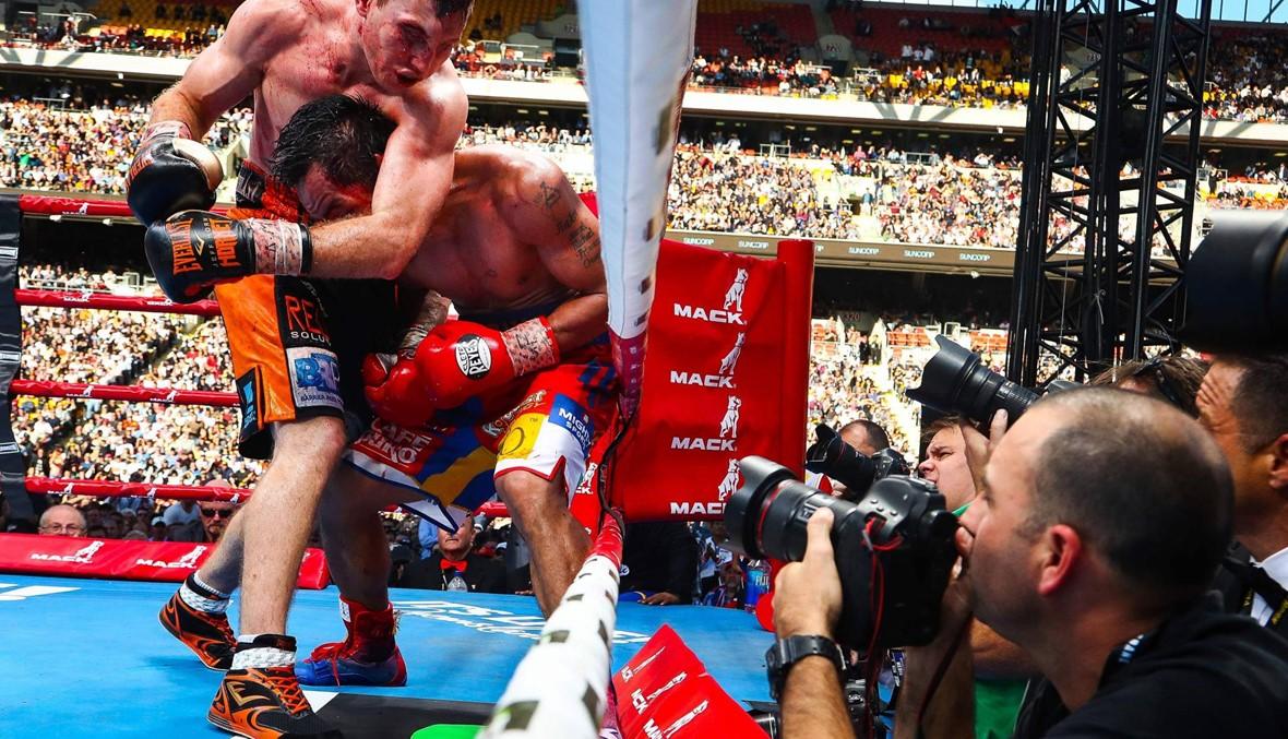 بالصور: اوسترالي مغمور ينتزع لقب الملاكمة من باكياو