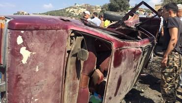 عدد من الجرحى بانقلاب سيارتين في جرد القيطع العكارية