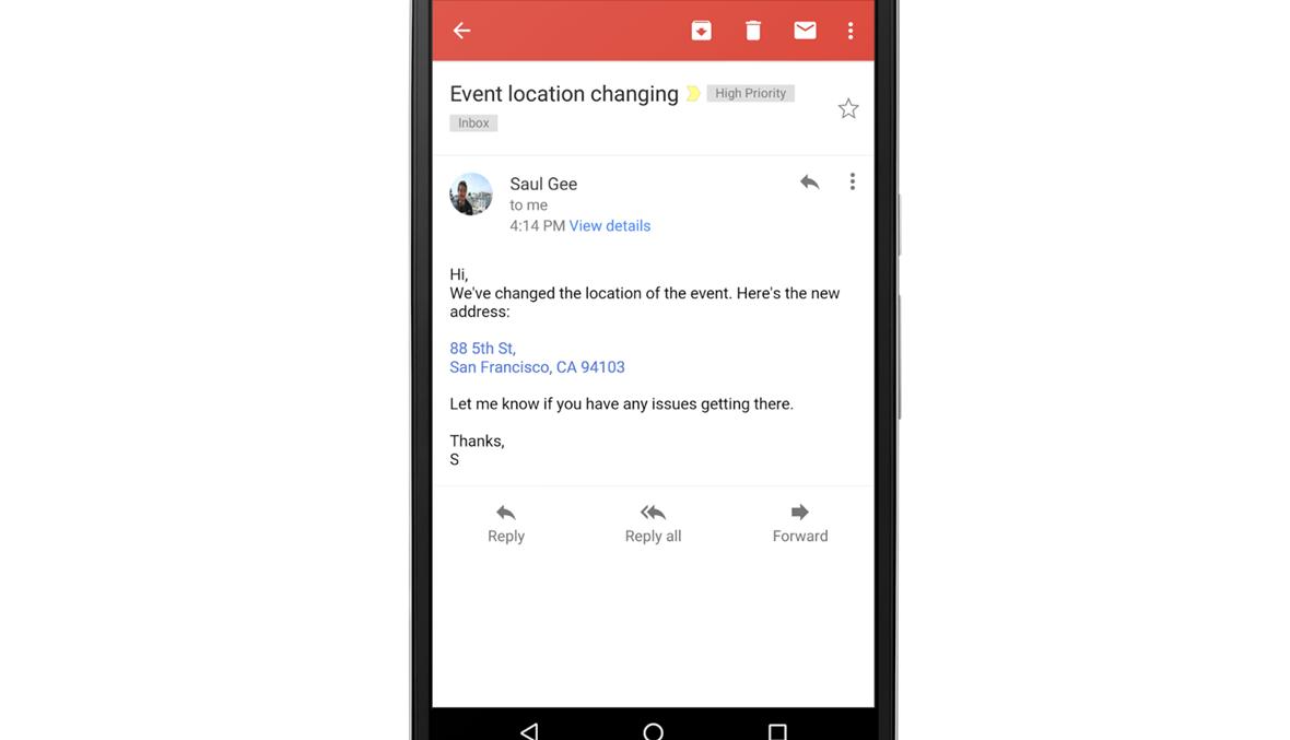 Gmail يضيف تحويل أرقام الهواتف والعناوين إلى الروابط