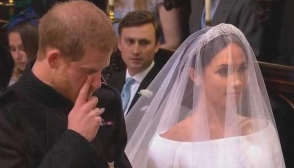 """فيديو - """"دمعة"""" هاري لدى رؤية عروسه"""
