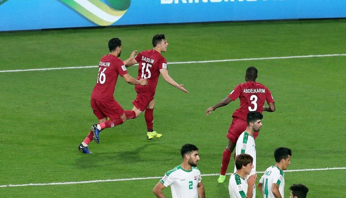 """بالصور: احتفال لاعب قطر يثير غضب العراقيين... """"ستندم"""""""