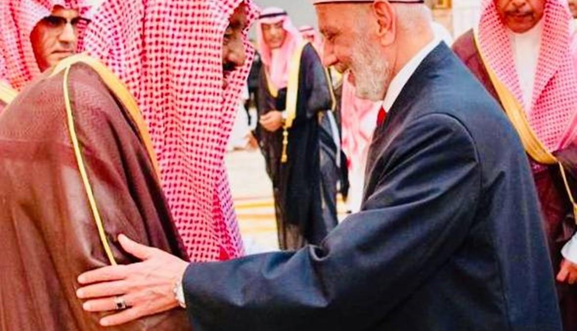 لقاء جمع الملك سلمان والمفتي دريان في قصر منى